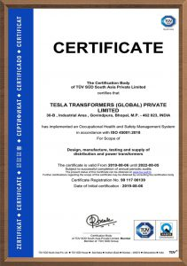 Certificate - Tesla Transformers India